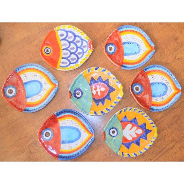 Boho Chic 1980s Boho Chic DeSimone Terra Cotta Fish Plate For Sale - Image 3 of 13