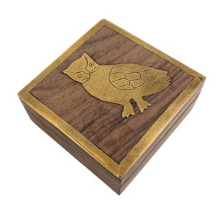 Vintage Brass and Wood Owl Box