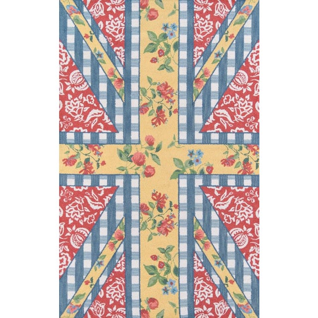 """Blue Madcap Cottage Summer Garden Think of England Multi Area Rug 3'6"""" X 5'6"""" For Sale - Image 8 of 8"""