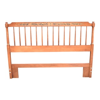 20th Century Hitchcock Stenciled Maple Double or Twin Headboard For Sale