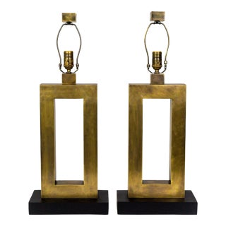 1970s Rectangular Antiqued Brass Table Lamps - a Pair For Sale