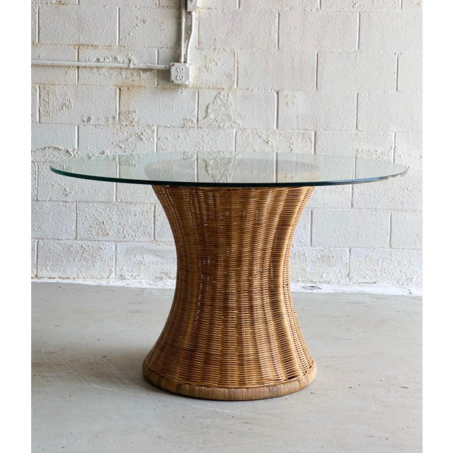 1960s Trompe L' Oeil Wicker Rattan Dining Set – 5 Pieces For Sale - Image 10 of 11