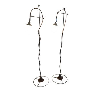 Industrial Style Mid-Century Floor Lamps - A Pair