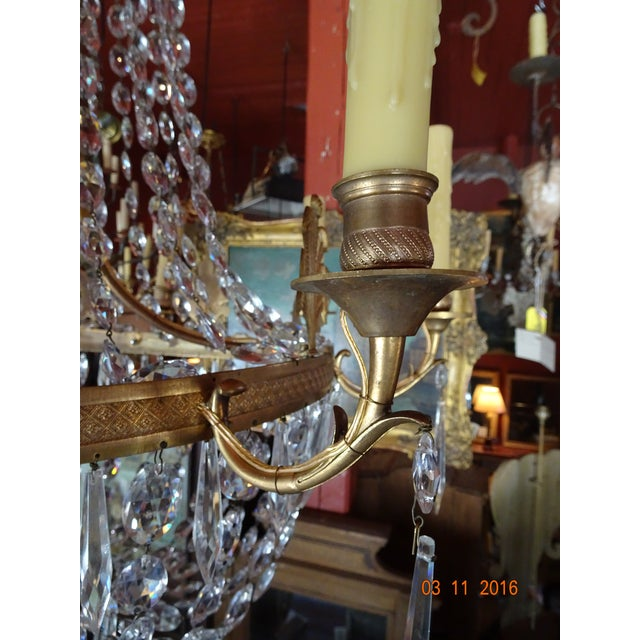 Mid 19th Century 19th Century French Empire Crystal Chandelier For Sale - Image 5 of 12