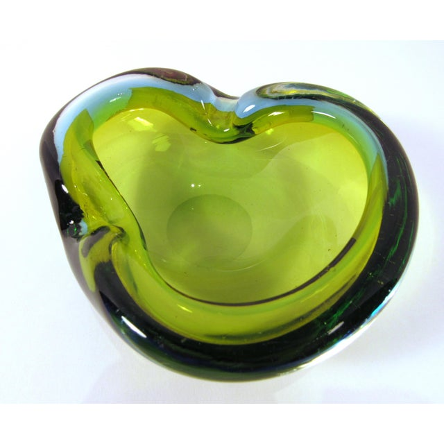 Murano Hand Blown Olive Art Glass Ashtray and Catch All Bowl | Chairish