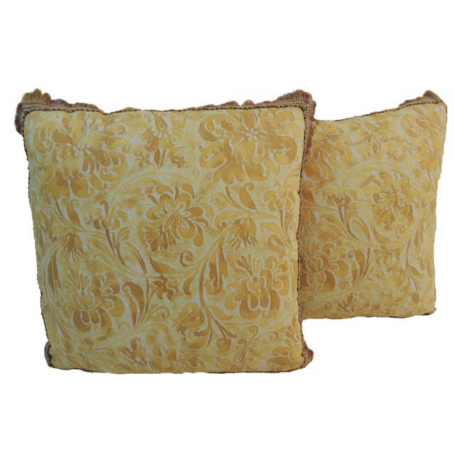 Fortuny Yellow & White Petite Pillows - A Pair - Image 1 of 4