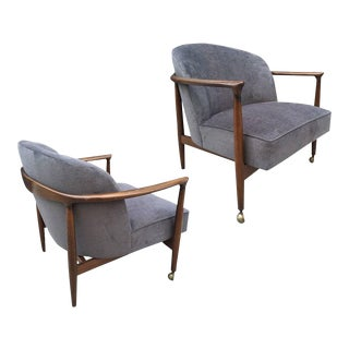Pair Ib Kofod-Larsen Sculptural Lounge Chairs For Sale