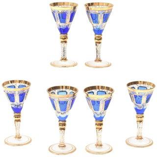 6 Antique Moser Cordial Glasses, Cobalt Blue Hand Trimmed Gold For Sale