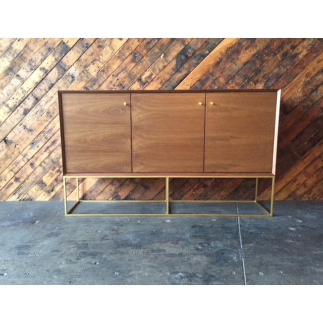 Mid-Century Modern Custom Handmade Walnut Brass Base Credenza For Sale - Image 3 of 9