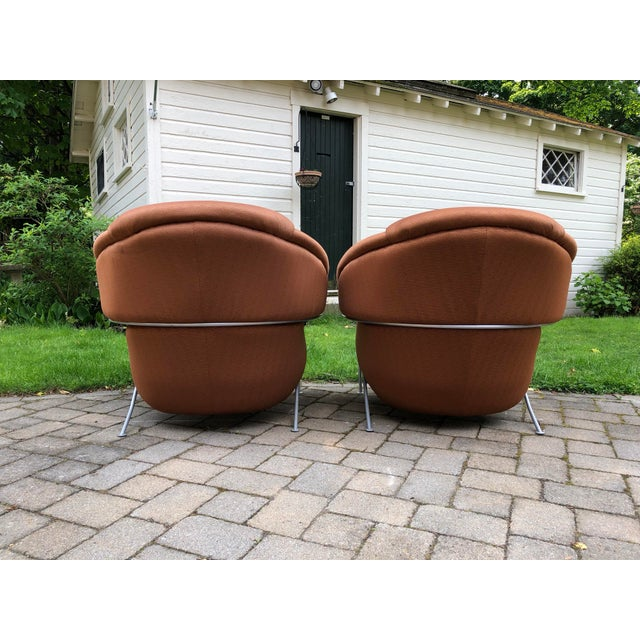 Orange 1980s Vintage Milo Baughman for Thayer Coggin Boldido Lounge Chairs - a Pair For Sale - Image 8 of 12
