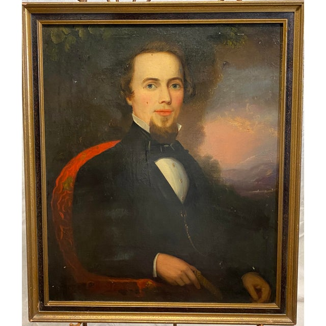 Red Antique Late 19th C. Oil on Board Framed Portrait of a Handsome Man For Sale - Image 8 of 8