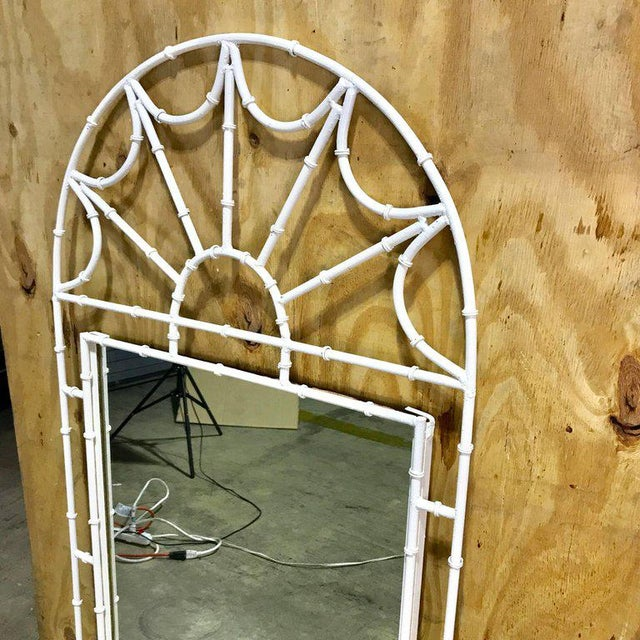 Mid-Century Modern Midcentury Faux Bamboo Iron Mirror in White For Sale - Image 3 of 8