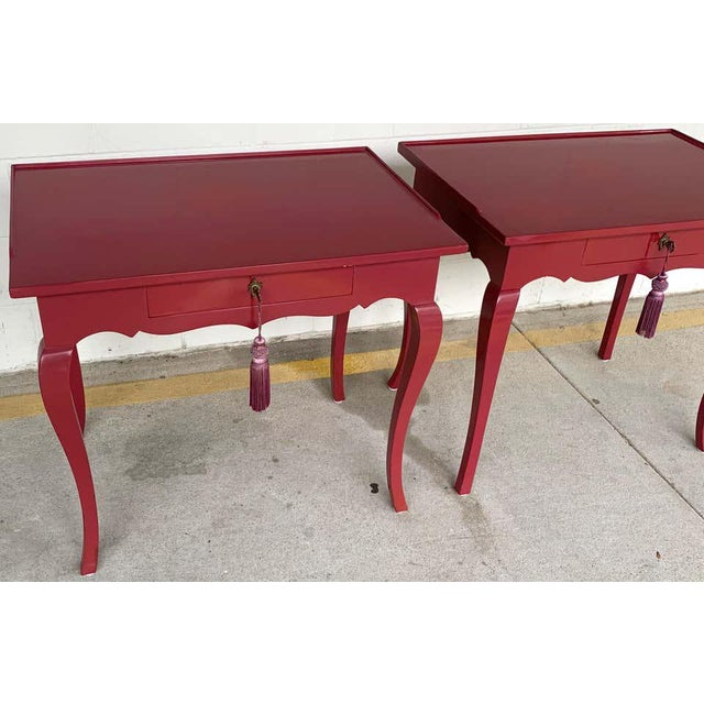 Mauve Bold Mauve Lacquered End/ Nightstands Tables For Sale - Image 8 of 10
