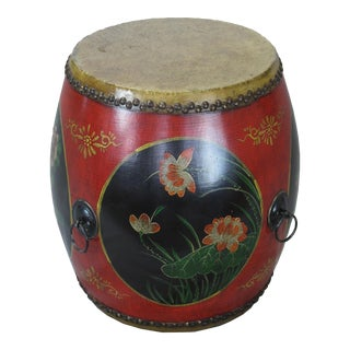 Asian Antique Hand Painted Drum Accent Table For Sale