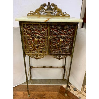 Antique Bronze and Onyx Telephone Stand Cabinet Table Preview