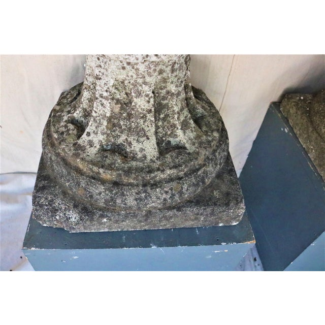 Early 20th Century Large Pair of Early 20th Century English Cast Stone Aritchoke Garden Ornamental Finials For Sale - Image 5 of 8