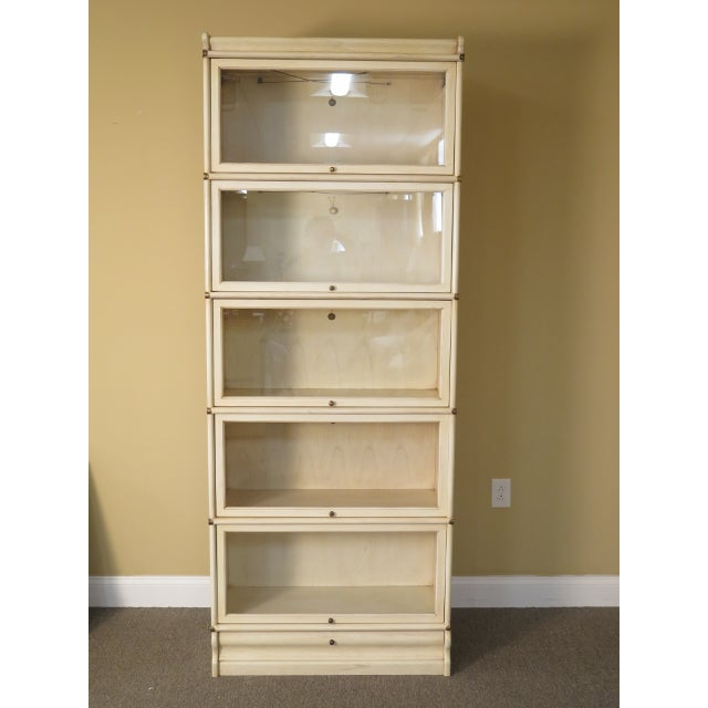 1990s Transitional Globe-Wernicke White Decorated Stack Barrister Bookcase For Sale - Image 13 of 13