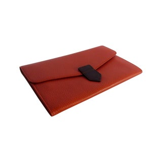 Orange Leather Travel Wallet Purse Italy For Sale