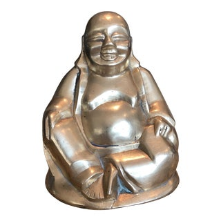 Vintage Solid Brass Fat Buddha Sculpture For Sale