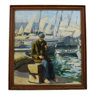 Early 1900s New England Nautical Fisherman Oil Painting