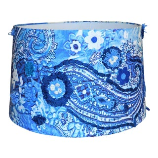 Bohemian Paisley Blue & White Lamp Shade For Sale