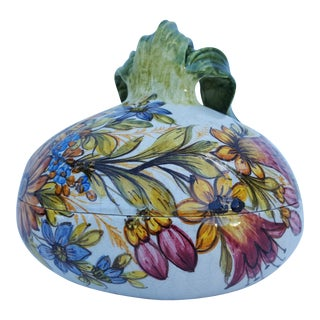 Italian Meiselman Art Hand Painted Ceramic Onion Box .