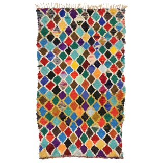 Vintage Berber Colorful Moroccan Runner With Diamond Pattern, 03'06 X 10'00 For Sale