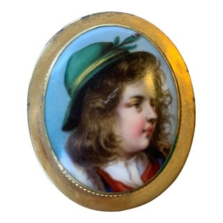 Victorian Hand-Painted Porcelain Gold-Plated Broach For Sale