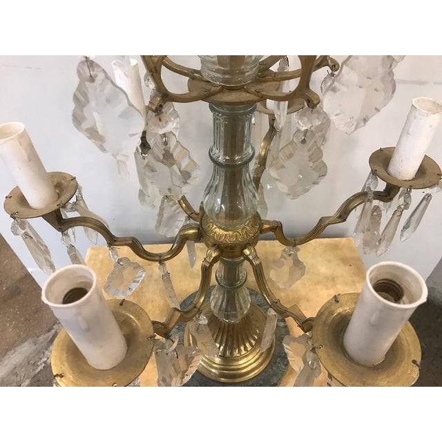 Louis XVI Pair of Louis XVI Style Bronze Candelabras For Sale - Image 3 of 7