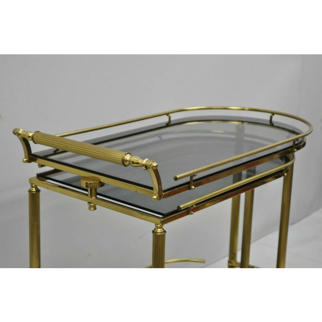 Mid 20th Century 20th Century Hollywood Regency Swivel Rolling Bar Cart For Sale - Image 5 of 13
