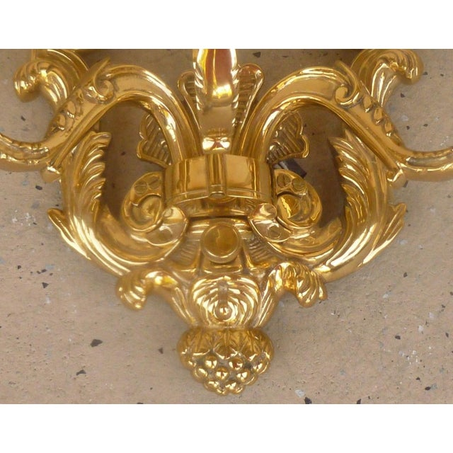 Gold Late 20th Century Vintage French Louis 16th C. Style Wall Sconces- A Pair For Sale - Image 8 of 9