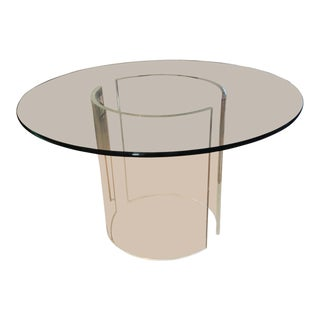 Vintage Glass Top Lucite Pedestal Table For Sale
