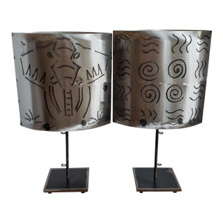 Hand Made Forged and Etched Steel Elephant Lamps - a Pair For Sale
