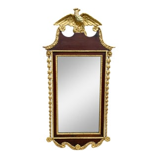 19th Century Large Federal Semi Gild Wall Hanging Mirror For Sale