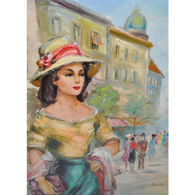 American Woman in Europe Oil Painting c.1950s For Sale - Image 4 of 9