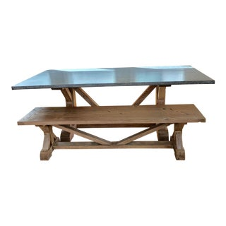 Modern Zinc Wrapped Farmhouse Dining Table and Bench- 2 Pieces For Sale