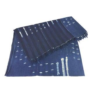 African Indigo Shibori Mud Cloth Throw For Sale