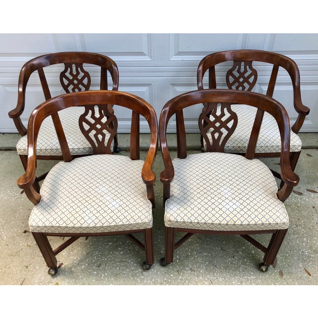 Drexel Heritage Drexel Heritage Chippendale Horseshoe Dining Chairs on Casters- Set of 4 For Sale - Image 4 of 13