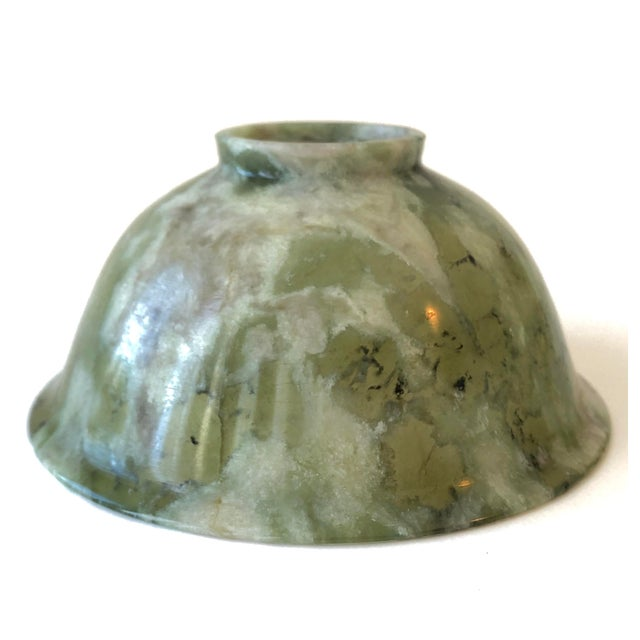 Chinese Antique Nephrite Pink and Green Jade Bowl For Sale - Image 3 of 12