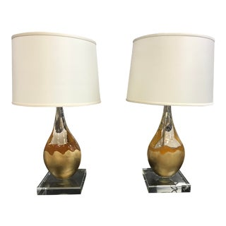 Mid-Century Drip Glaze Style Lucite Lamps - a Pair For Sale