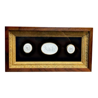 1820 Antique Grand Tour Plaster Cameo Intaglios Framed For Sale