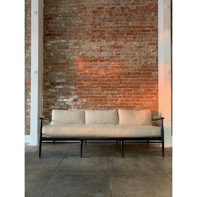 Danish MCM - Black Wood and Woven Cane Sofa in Belgian Linen For Sale In Los Angeles - Image 6 of 7