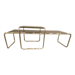 Mid Century Modern Marcel Breuer 'Laccio' Nesting Coffee & Side Table for Knoll - 2 Pieces For Sale