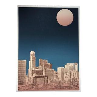"Large 1982 ""Houston, Texas Downtown Skyline"" Cityscape Silkscreen For Sale"