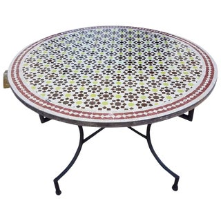 "Moroccan 48"" Multi-Color Mosaic Center Table For Sale"