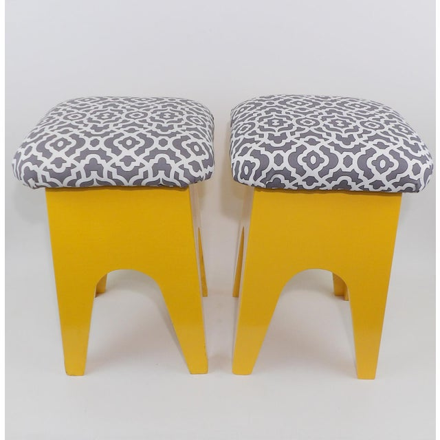 Abstract Mid-Century Modern Marigold Geometric Pattern Stools - A Pair For Sale - Image 3 of 8