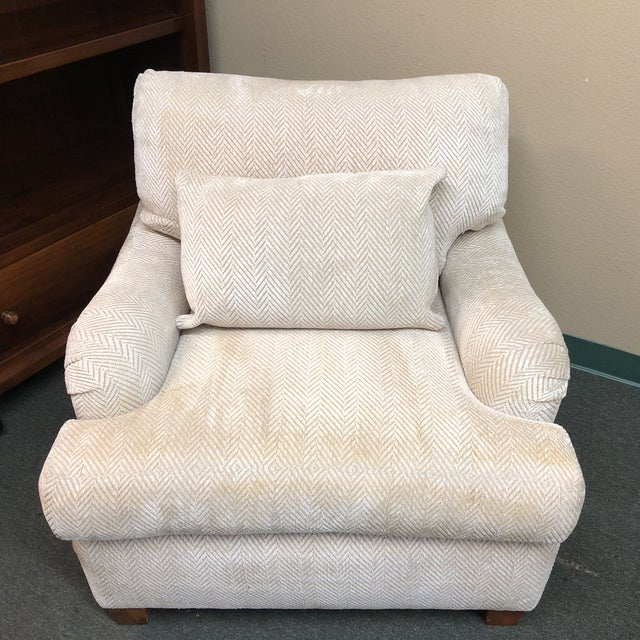 Tan Contemporary Custom Chenille Arm Chair For Sale - Image 8 of 10