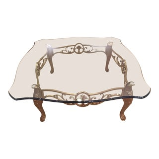 1980s Hollywood Regency LaBarge Glass and Satin Brass Coffee Table For Sale