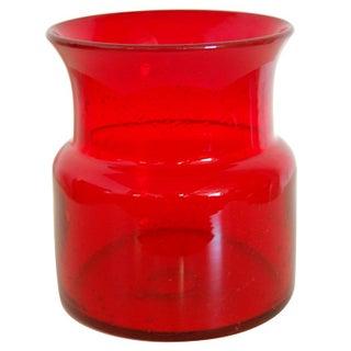 Erik Hoglund Vintage Swedish Red Art Glass Vase for Boda For Sale