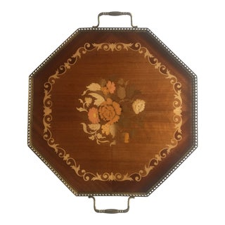 Price Reduced- Italian Inlaid Wood Tray For Sale